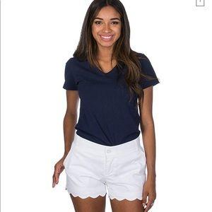 NWT Lauren James Scalloped White shorts